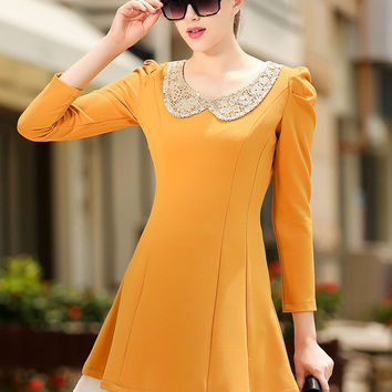 Yellow Contrast Peter Pan Collar Lace Sequined Long Sleeve A-line Mini Dress