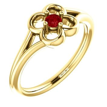 14K Yellow Gold Round Genuine Ruby Flower Youth Ring