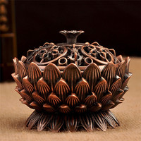 Tibetan Lotus Incense Burner Alloy Bronze