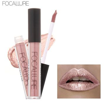 Focallure Matt Lip Gloss Liquid Matte Lipstick Lip Gloss Chameleon Metal Lipstick Shimmer Glitter Lip Gloss 6ML Lipgloss Lip Kit
