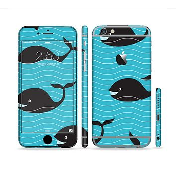 The Teal Smiling Black Whale Pattern Sectioned Skin Series for the Apple iPhone 6 Plus