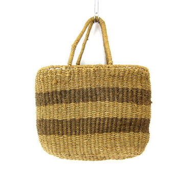 vintage woven farmer's market bag Natural jute Straw sisal bag Bohemian chic Tote bucket bag purse earthy Hippie Festival Twine Rope Striped
