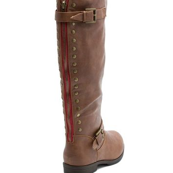 Jasmine 1 Pop Color Round Stud Riding Boot