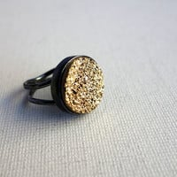 Massive Glittering Gold Drusy Ring in Handmade Sterling Silver Setting