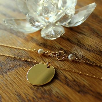 Round Mirror-Like Sun Disk Disc Charm Drop Pearl Small Gold Necklace - Delicate Simple Modern Minimalist Jewelry - WHOLE by 5050 STUDIO