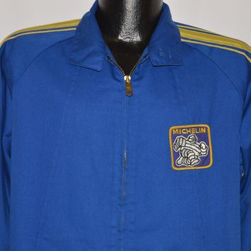 70s Michelin Tires Striped Racer Jacket Small
