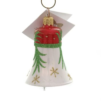 Golden Bell Collection RED/WHITE BELL W/GLITTERED STEM Christmas Ornament Beb009