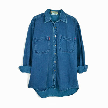 Vintage 90s Denim Shirt in Aqua Blue Hard Wash / Denim Workshirt - men's medium