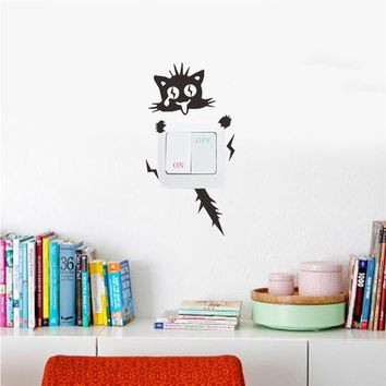 Funny Cute Cat Dog Alien Switch Wall Stickers
