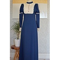 Vintage 1960s + Victorian Maid Maxi Dress