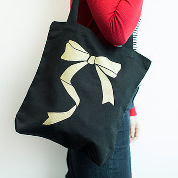 Black and Gold - Bow - Screen printed - 100% cotton tote bag - Everyday bag