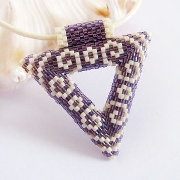 Purple and Beige Beadwork Pendant, Geometric Triangle Beaded Pendant Necklace in Beige and Dark Lavender