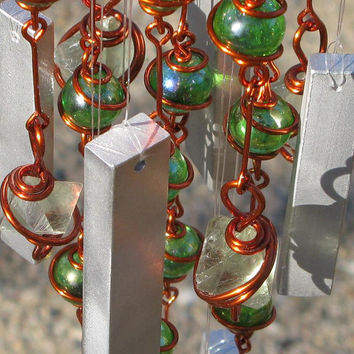 Windchime with Fluorite Cleavages, Recycled Aluminum and Copper Wrapped Iridescent Spring Green Glass Marbles