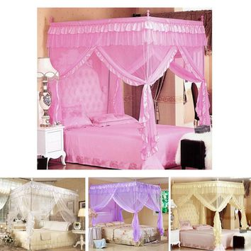 Luxury Lace Princess Four Corner Post Bed Canopy Mosquito Netting Twin Full Queen King Size