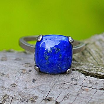 Loyal Love Vintage Fine 3.59ct Natural Lapis Stone Sterling Silver Square Ring