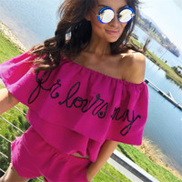 T-shirts Summer Women's Fashion Stylish Fashion Ruffle Strapless Tops Set [11710038159]