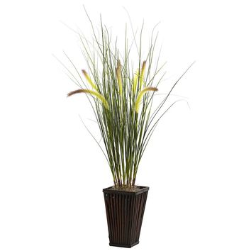 Silk Flowers -Grass With Cattails And Bamboo Planter Artificial Plant