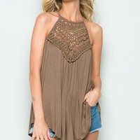 Crochet Lace Detail Tank Top with Back Keyhole - Warm Taupe