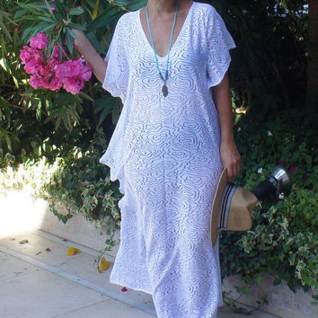 White  Long Beach Dress, Maxi Swim suit Coverup, White Lace Caftan, Lace cover up, Gift for women