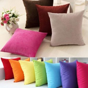 Simple Fashion Cotton Nap Cushion Cover Candy-Colored Home Decor Sofa Throw Pillow Case