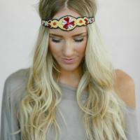 Beaded BOHO Head Piece, Beaded Headband, Bohemian, Head band, Yellow/Red/Pink Beads (PNM-HB-043)