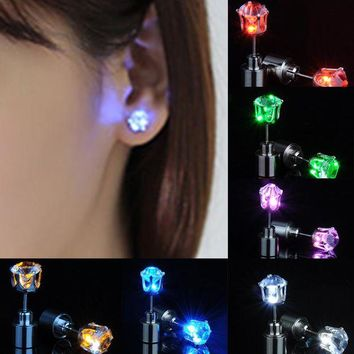 ac spbest 1pair Charm LED Earring Light Up Crown Glowing Crystal Stainless Ear Drop Ear Stud Earring Jewelry For women Christmas gifts