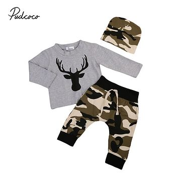 Infant Baby Clothing Sets Newborn Baby Boy Long Sleeve Deer Print Top Pants Leggings Hat 3pcs New Outfits For Newborns