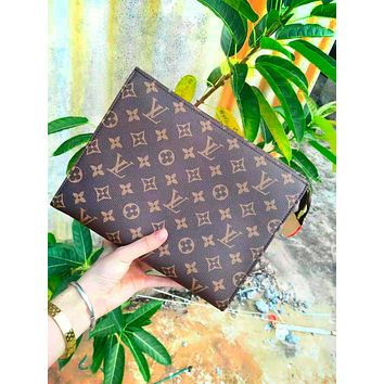 Free shipping-LV classic old chess board men and women clutch bag large capacity envelope bag