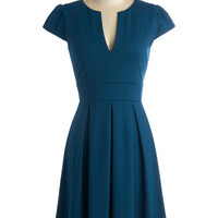 ModCloth Vintage Inspired Mid-length Short Sleeves Fit & Flare Meet Me At the Punch Bowl Dress in Oceanside