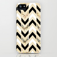 Black, White & Gold Glitter Herringbone Chevron on Nude Cream iPhone & iPod Case by Tangerine-Tane