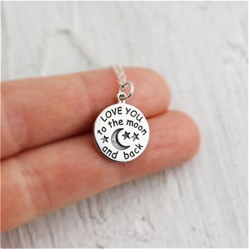 Round Tiny Pendant Necklace Women I LOVE YOU TO THE MOON AND BACK Valentine Choker Necklace One Piece