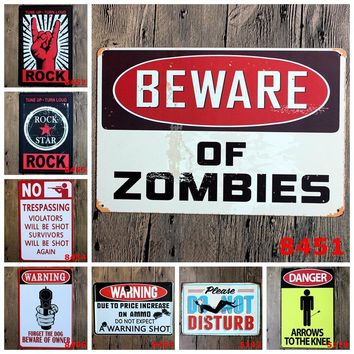 Danger Warning Metal Tin Signs No Smoking Signage Home Decor Wall Art Painting Plaque Vintage Rock&Roll Decorative Metal Sign