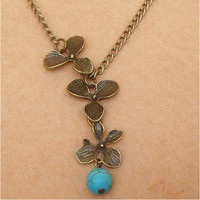Orchid and Turquoise Necklace by turquoisecity on Etsy