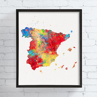 Spain Map, Spain Wall Art, Spain Country, Spain Poster, Watercolor Print, Framed Art, Custom Colors, Travel Art, Map Wall Decor, Gift Idea