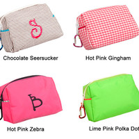 Monogrammed Personalized Cosmetic Make Up Pencil School Pouch Bag - Choose your color and personalize