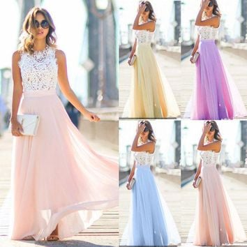 Sought-After Sexy Womens Long Lace Chiffon Formal Party Prom Brides Dress