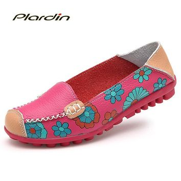 Cow Muscle Ballet Summer Flower Print Women Genuine Leather Shoes Woman  Flat Flexible Nurse  Peas Loafer Flats Appliques