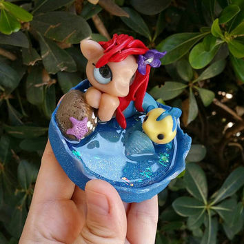 Disney inspired little mermaid pony and flounder polymer clay//Ariel//resin//gifts for her//Disney fans//kawaii//collectible
