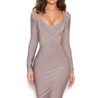 Clothing : Bandage Dresses : 'Calvi' Grey Long Sleeve Cut Out Bandage Dress