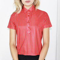cropped red checkered blouse blouse crop top petite fit shirt xs extra small