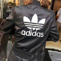 ADIDAS Fashion Casual Women Embroidery Leather Long Sleeve Cardigan Jacket Coat Black G-Y-GXYAL