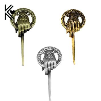 Drop Shipping Game of Thrones Brooch Song of Ice and Fire Vintage Punk Hand of the King Pin for Men and Women Bottle Opener