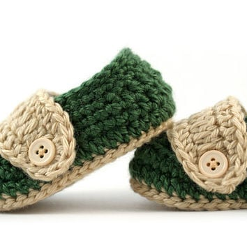 Crochet Baby Loafers // Green and Tan // 3 to 6 Months // Baby Boy Booties