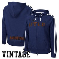 adidas UTEP Miners Ladies Navy College Town Full Zip Vintage Hoody Sweatshirt