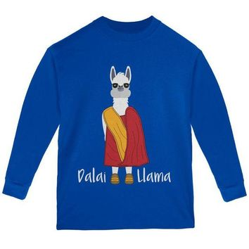 LMFCY8 Funny Dalai Lama Llama Pun Youth Long Sleeve T Shirt