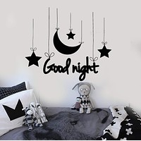 Vinyl Wall Decal Good Night Bedroom Art Crescent Stars Nursery Kids Room Stickers Unique Gift (ig3854)