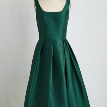 Sleeveless Fit & Flare Confident and Powerful Dress in Emerald by Chi Chi London from ModCloth