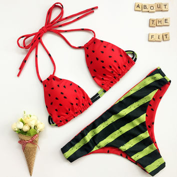 Beachwear Bikini 2016 Summer Sexy Swimwear Women Swimsuit Watermelon Printed Bikini Push Up Bikini Set Maillot De Bain Bathsuit