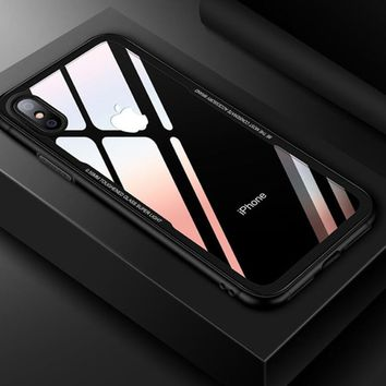 Clear Phone Case for iPhone X Tempered glass Transparent Cover Bumper for Apple iPhone 6 s 7 8 Plus Soft TPU Silicone Case