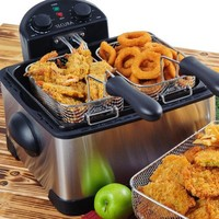 Secura 4.2L/17-Cup 1700-Watt Stainless-Steel Triple-Basket Electric Deep Fryer, with Timer
